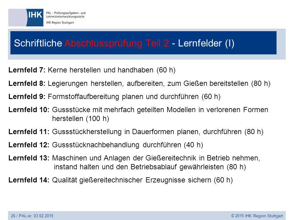 Schriftliche Abschlussprüfung Teil 2 - Lernfelder (I)