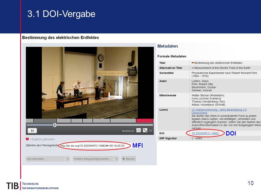 3.1 DOI-Vergabe DOI MFI 10 10