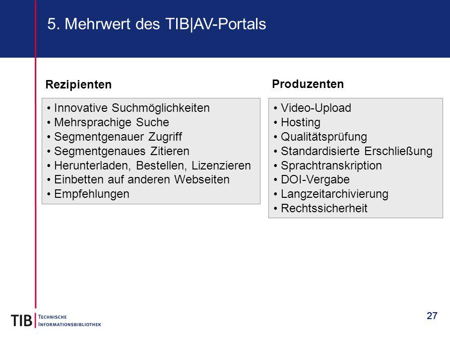 5. Mehrwert des TIB|AV-Portals