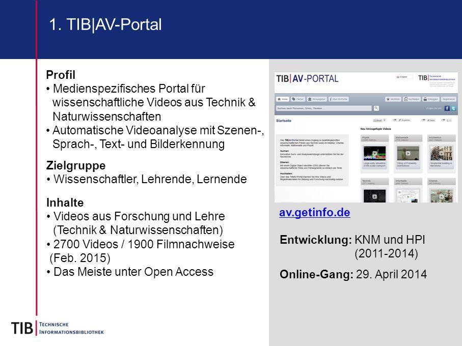 1. TIB|AV-Portal Profil. Medienspezifisches Portal für wissenschaftliche Videos aus Technik & Naturwissenschaften.