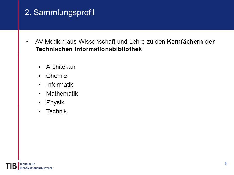 2. Sammlungsprofil AV-Medien aus Wissenschaft und Lehre zu den Kernfächern der Technischen Informationsbibliothek: