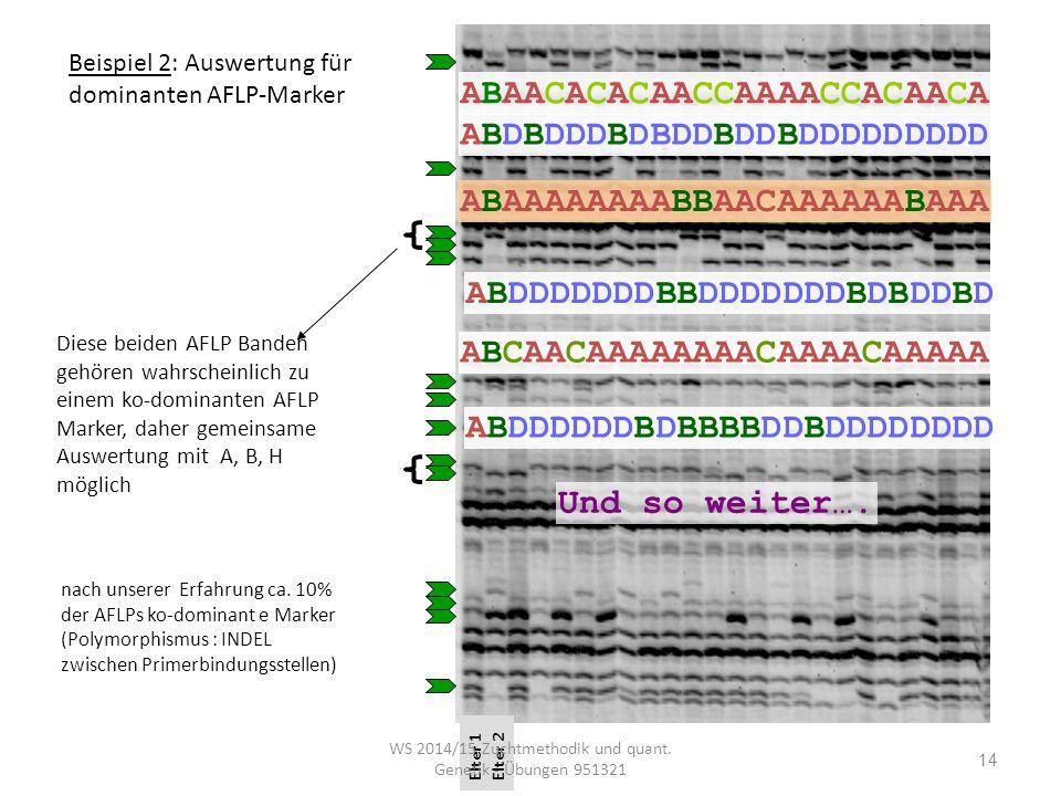 WS 2014/15 Zuchtmethodik und quant. Genetik - Übungen 951321