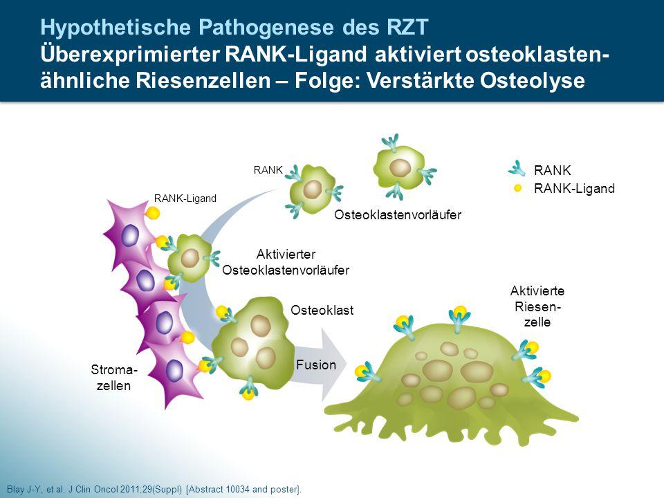 Hypothetische Pathogenese des RZT Überexprimierter RANK-Ligand aktiviert osteoklasten-ähnliche Riesenzellen – Folge: Verstärkte Osteolyse