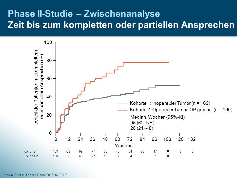 Anteil der Patienten mit komplettem oder partiellem Ansprechen (%)