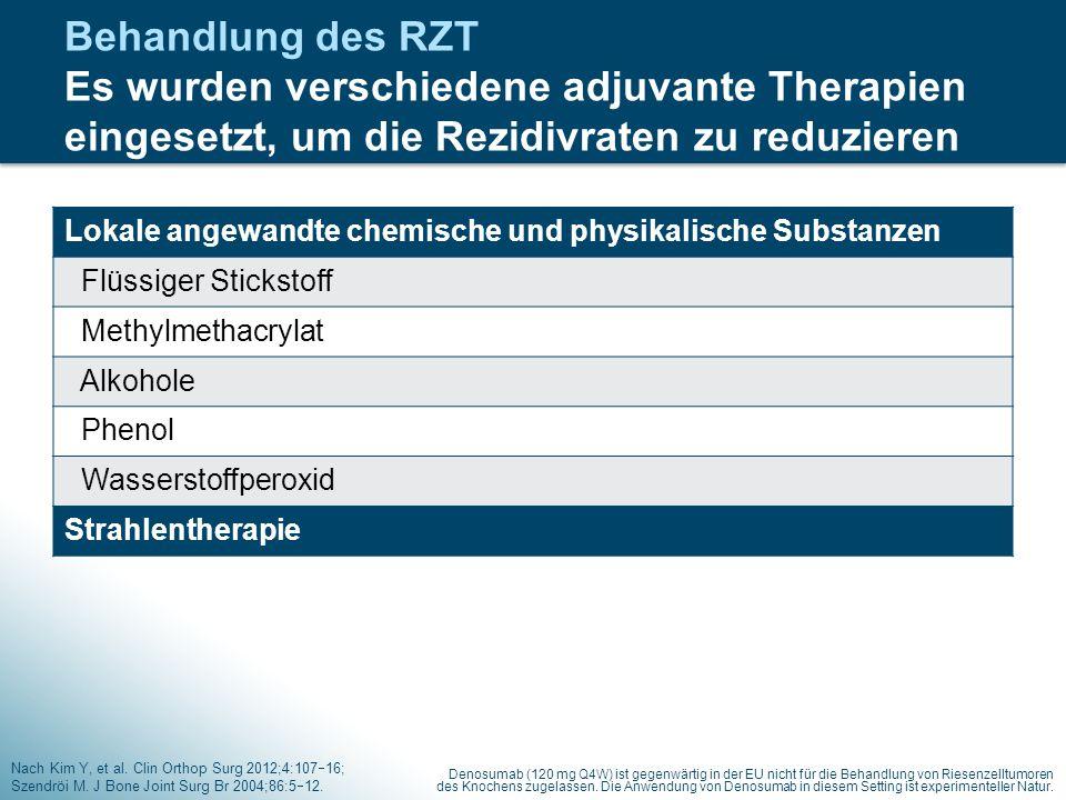 Behandlung des RZT Es wurden verschiedene adjuvante Therapien eingesetzt, um die Rezidivraten zu reduzieren