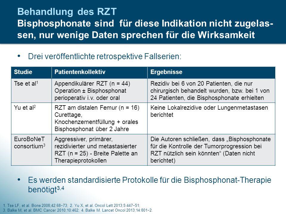 Behandlung des RZT Bisphosphonate sind für diese Indikation nicht zugelas-sen, nur wenige Daten sprechen für die Wirksamkeit