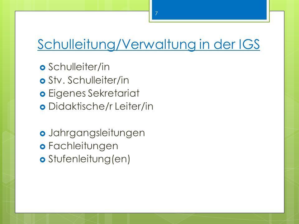 Schulleitung/Verwaltung in der IGS