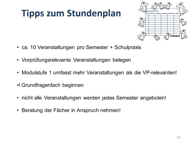 Tipps zum Stundenplan ca. 10 Veranstaltungen pro Semester + Schulpraxis. Vorprüfungsrelevante Veranstaltungen belegen.