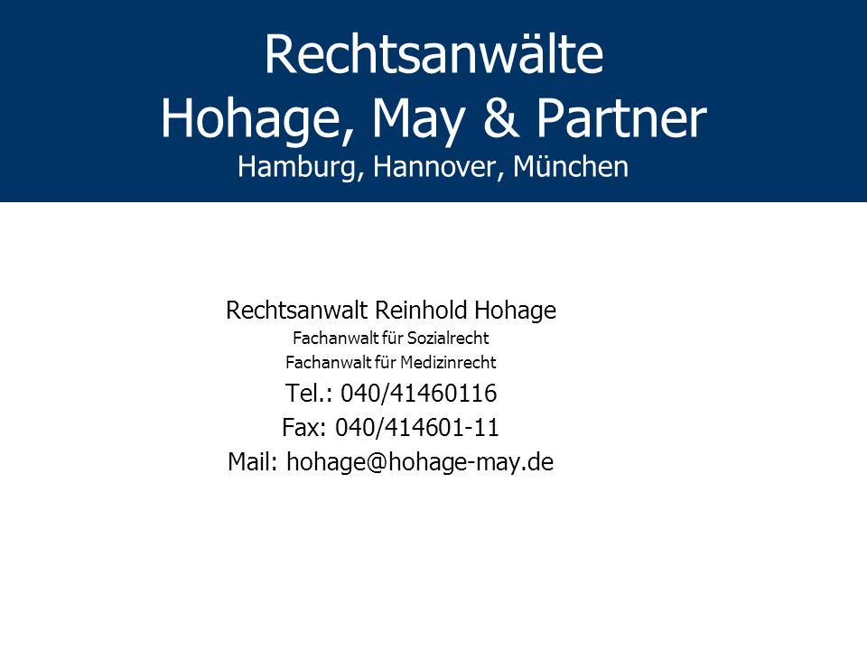 Rechtsanwälte Hohage, May & Partner Hamburg, Hannover, München