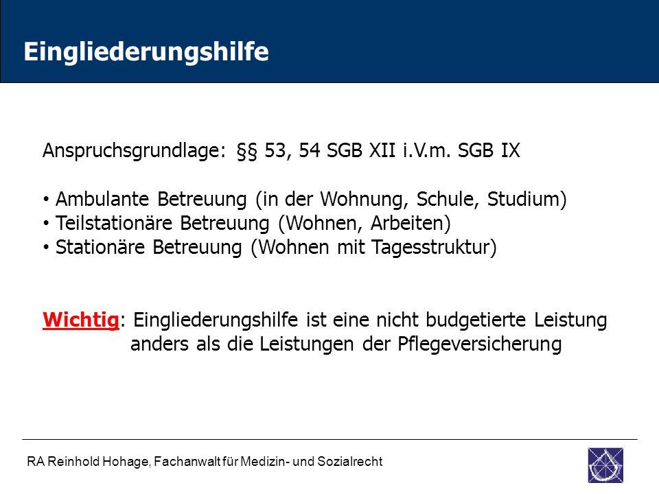 Eingliederungshilfe Anspruchsgrundlage: §§ 53, 54 SGB XII i.V.m. SGB IX. Ambulante Betreuung (in der Wohnung, Schule, Studium)
