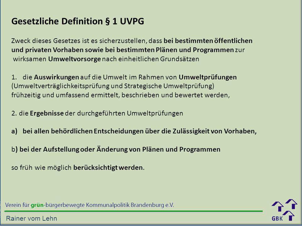 Gesetzliche Definition § 1 UVPG