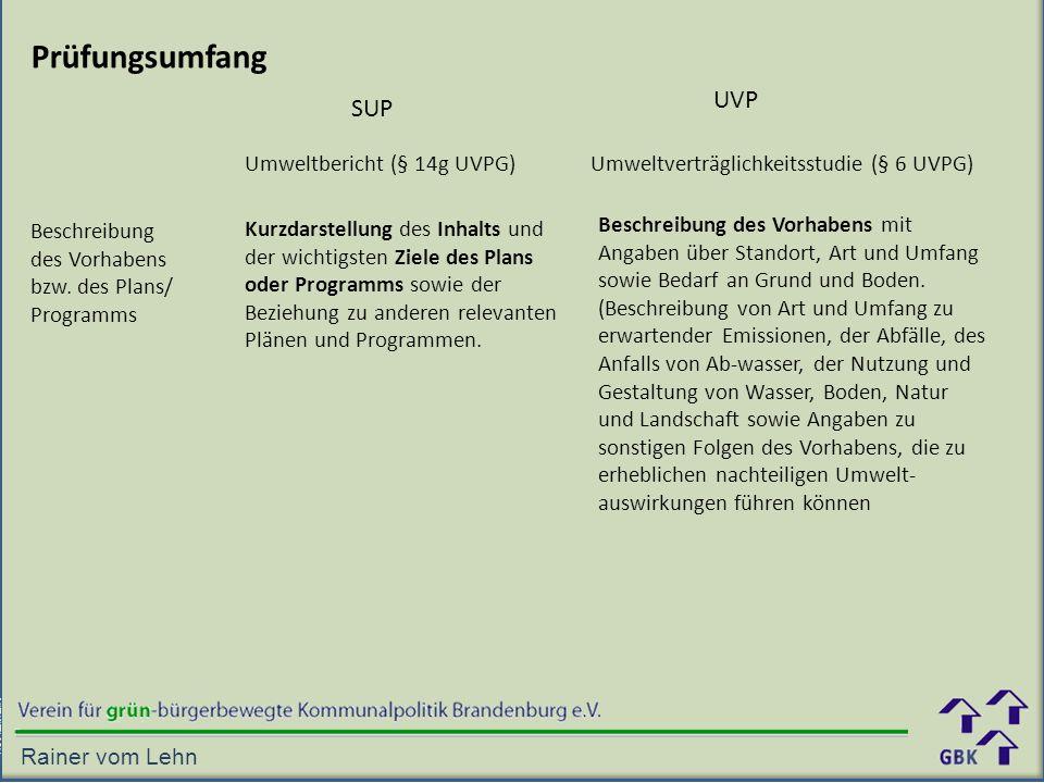 Prüfungsumfang UVP SUP Umweltbericht (§ 14g UVPG)