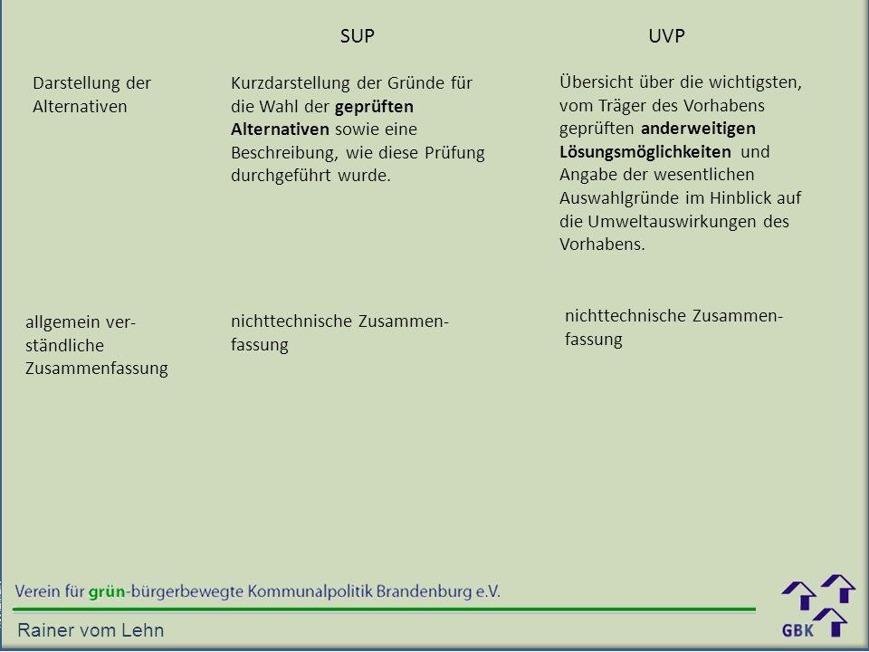 SUP UVP Darstellung der Alternativen