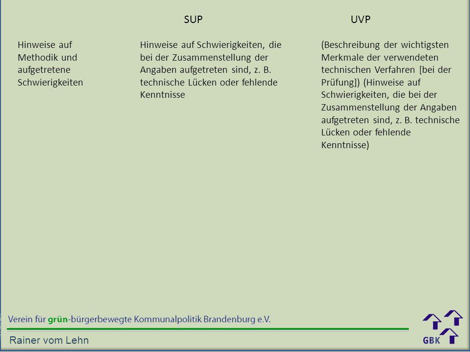 SUP UVP Hinweise auf Methodik und aufgetretene Schwierigkeiten