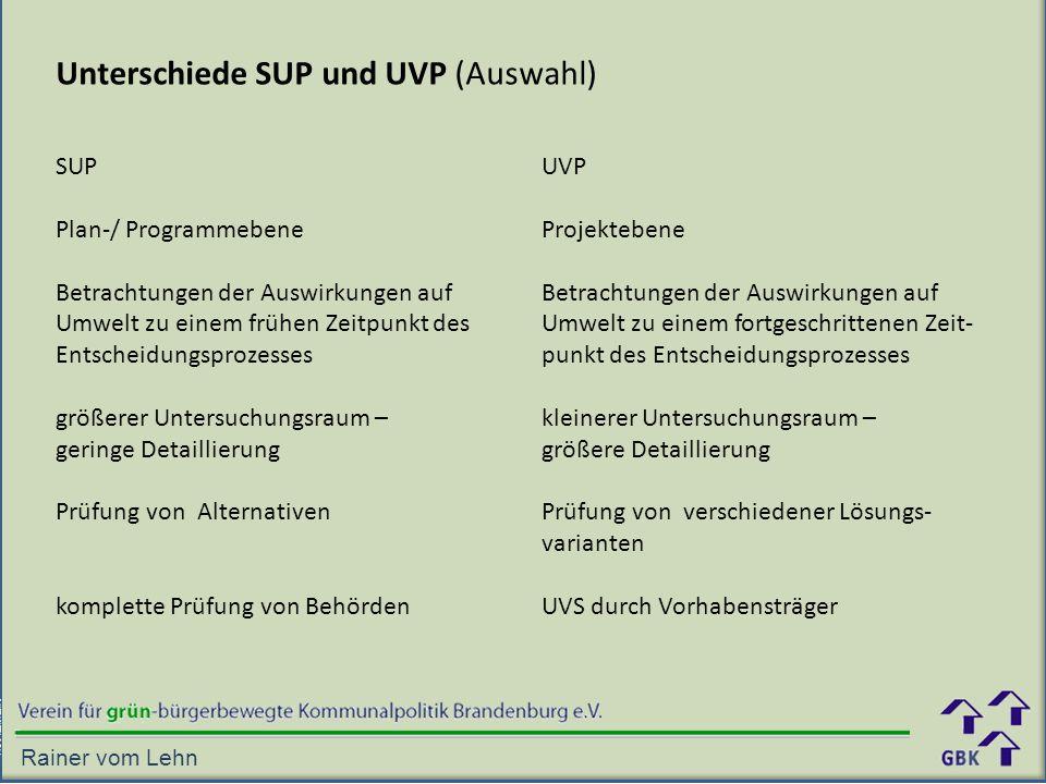 Unterschiede SUP und UVP (Auswahl)
