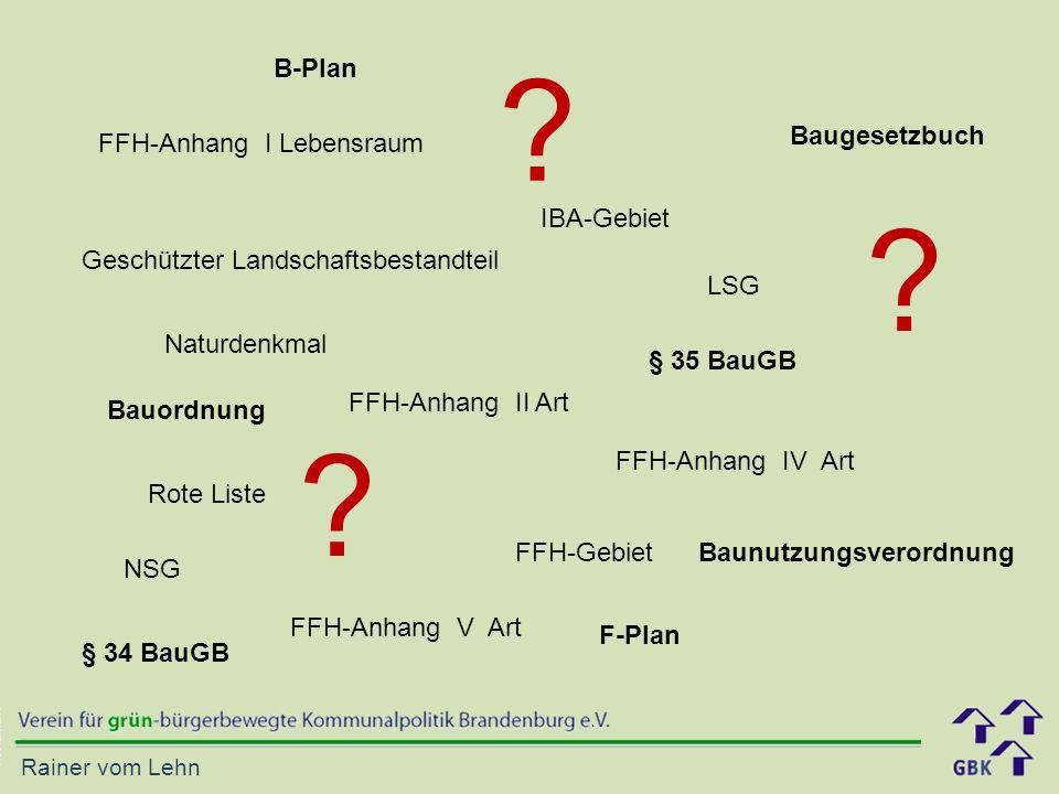 B-Plan Baugesetzbuch FFH-Anhang I Lebensraum IBA-Gebiet