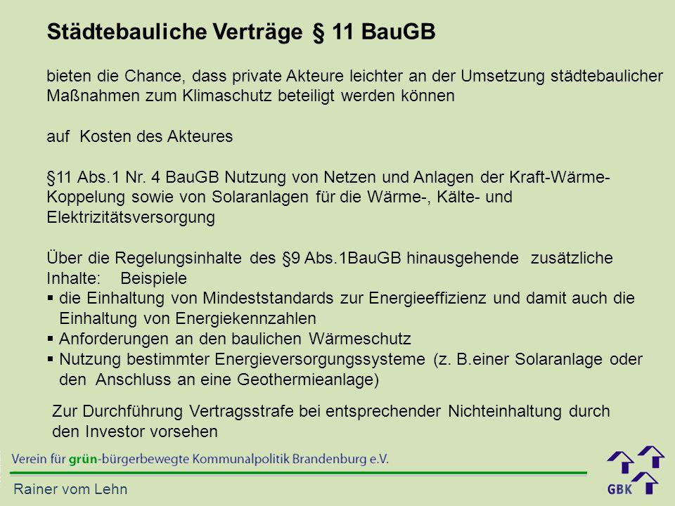 Städtebauliche Verträge § 11 BauGB