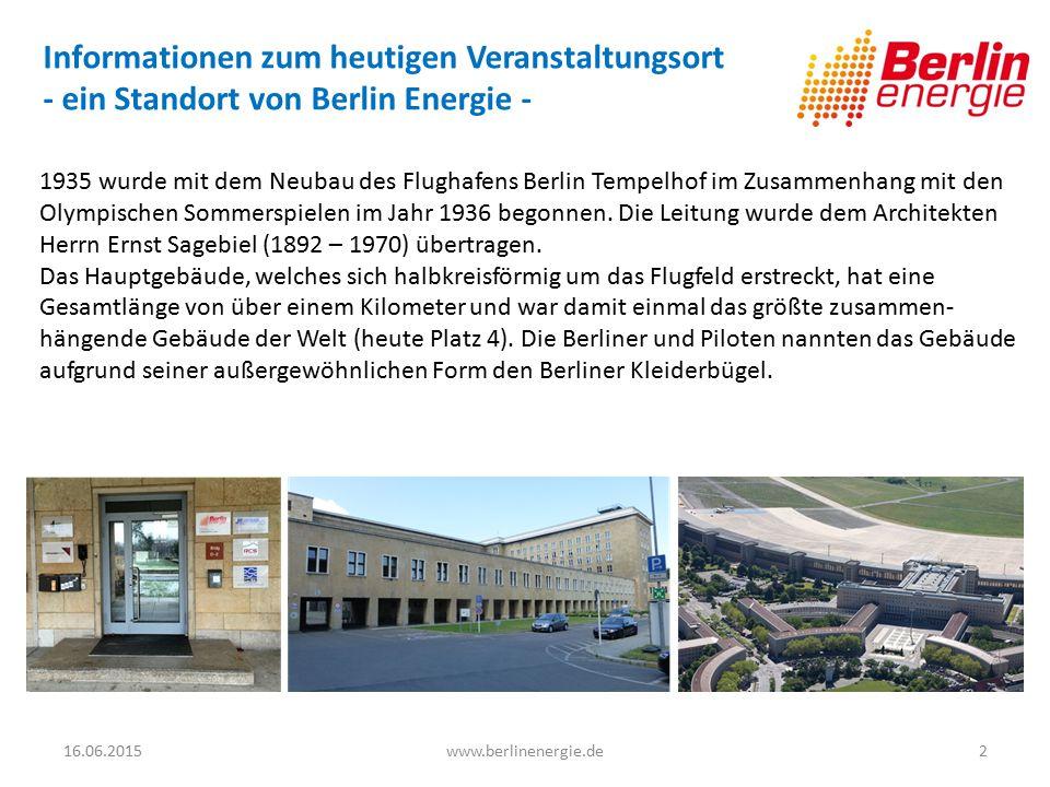 Informationen zum heutigen Veranstaltungsort - ein Standort von Berlin Energie -