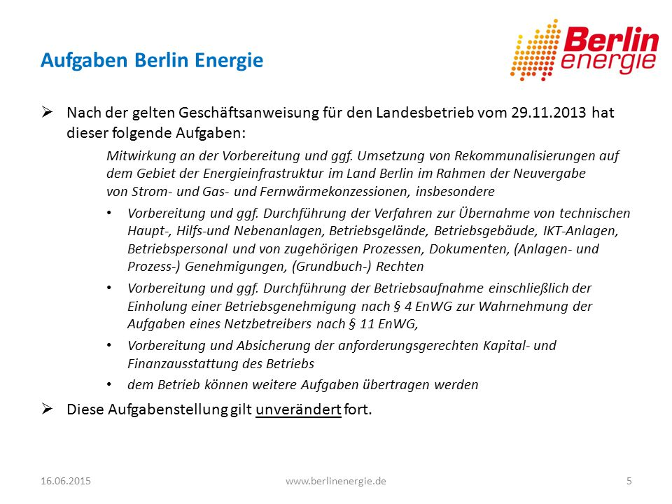 Aufgaben Berlin Energie