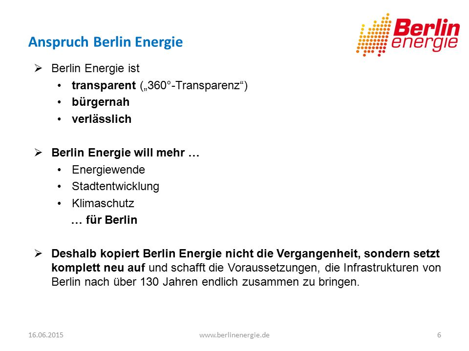 Anspruch Berlin Energie