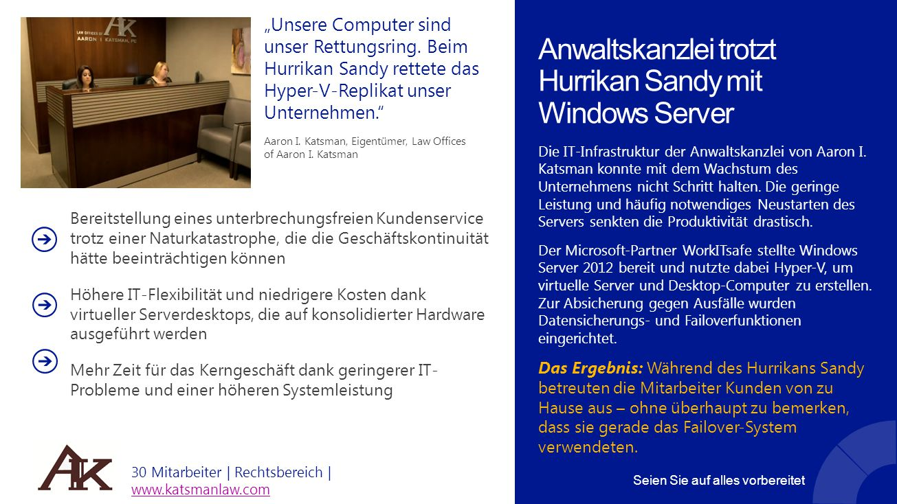 Anwaltskanzlei trotzt Hurrikan Sandy mit Windows Server