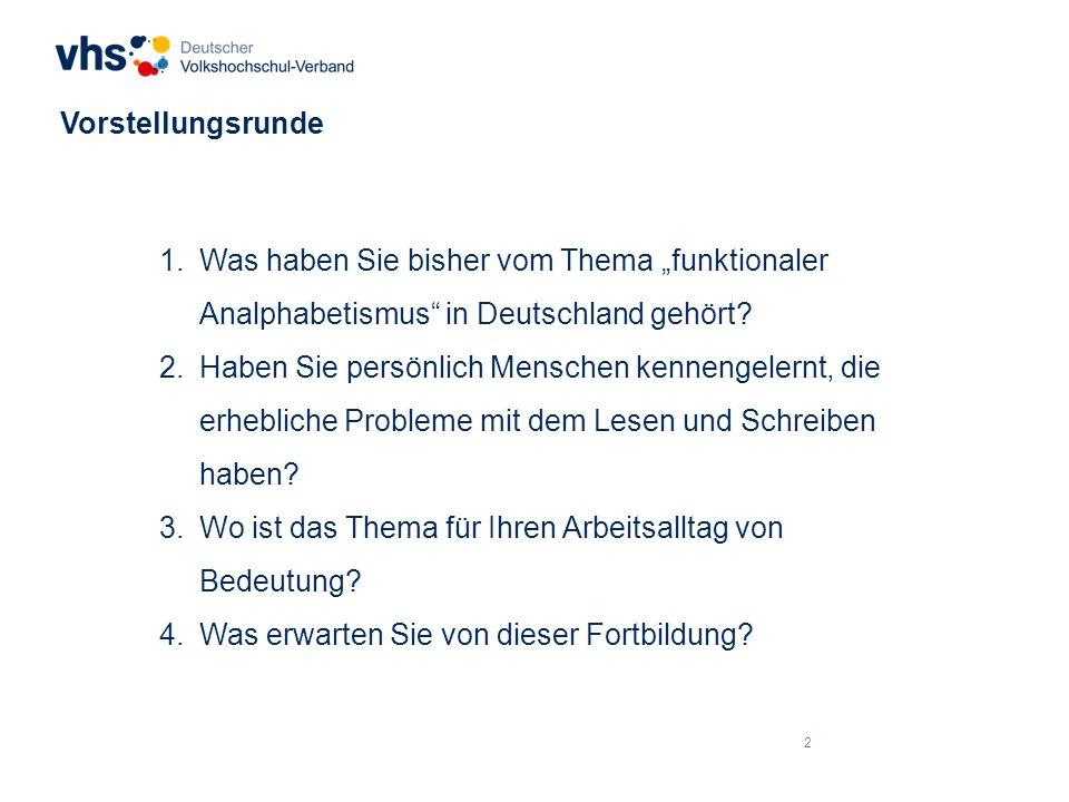 """Vorstellungsrunde Was haben Sie bisher vom Thema """"funktionaler Analphabetismus in Deutschland gehört"""