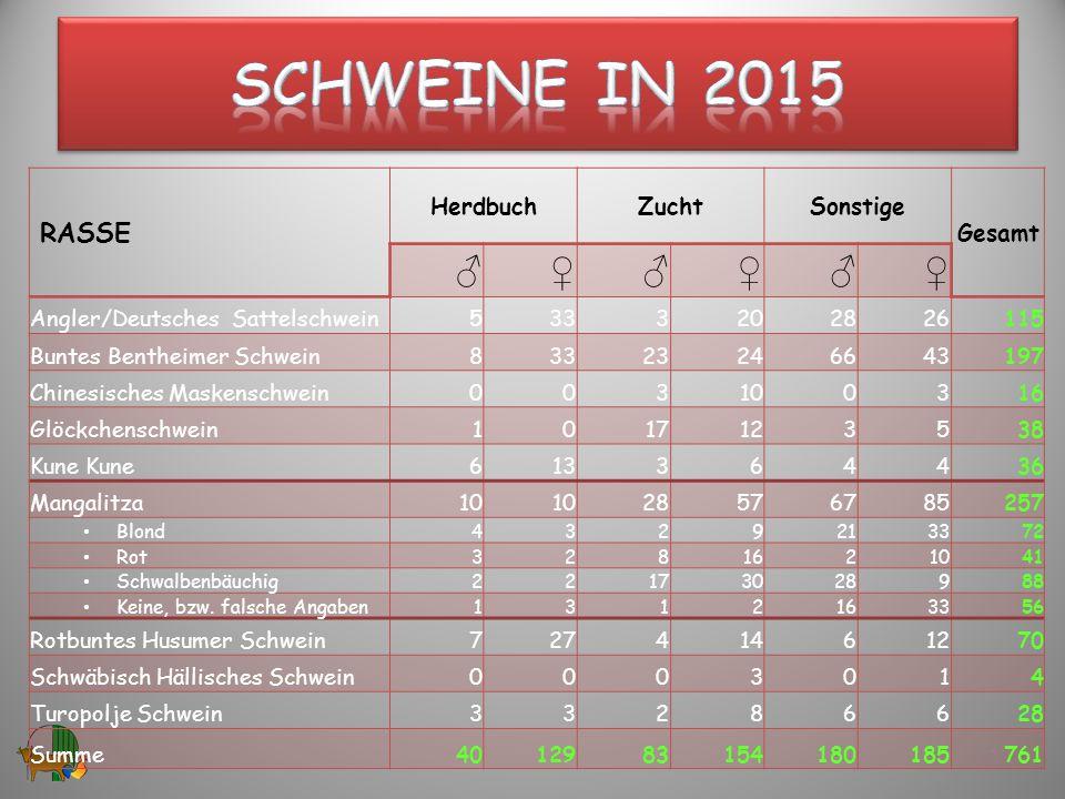 Schweine in 2015 ♂ ♀ RASSE Herdbuch Zucht Sonstige Gesamt