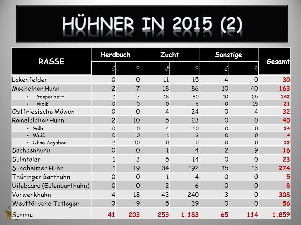 Hühner in 2015 (2) RASSE Herdbuch Zucht Sonstige Gesamt Lakenfelder 11