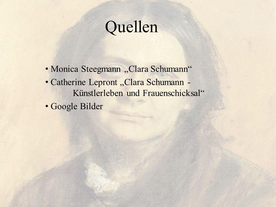 """Quellen Monica Steegmann """"Clara Schumann"""