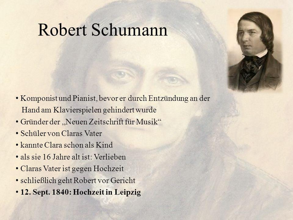 Robert Schumann Komponist und Pianist, bevor er durch Entzündung an der. Hand am Klavierspielen gehindert wurde.