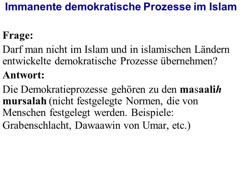 Immanente demokratische Prozesse im Islam