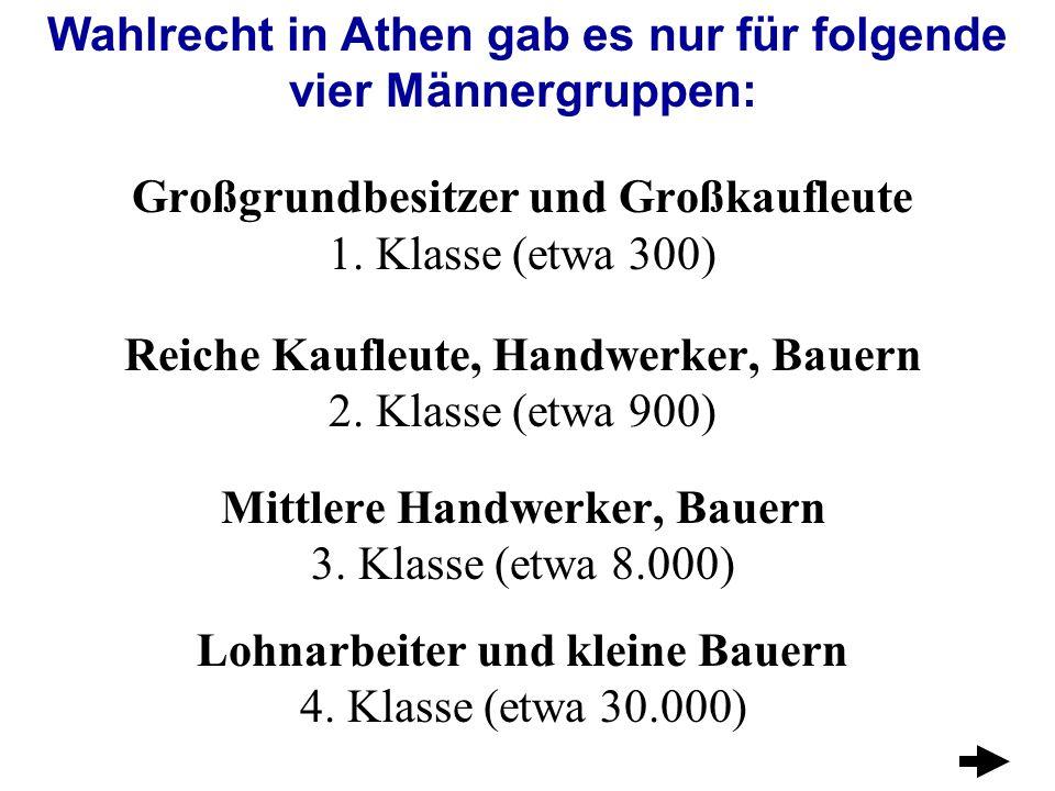 Wahlrecht in Athen gab es nur für folgende vier Männergruppen: