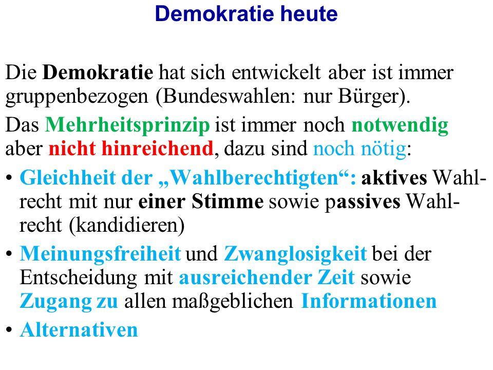 Demokratie heute Die Demokratie hat sich entwickelt aber ist immer gruppenbezogen (Bundeswahlen: nur Bürger).
