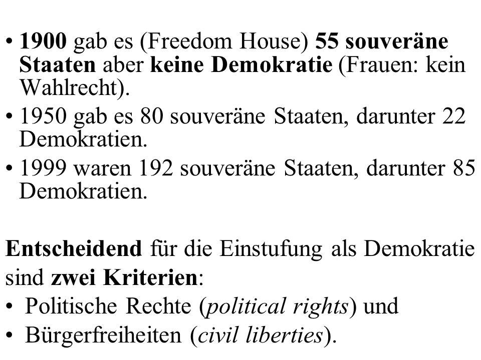 1900 gab es (Freedom House) 55 souveräne Staaten aber keine Demokratie (Frauen: kein Wahlrecht).