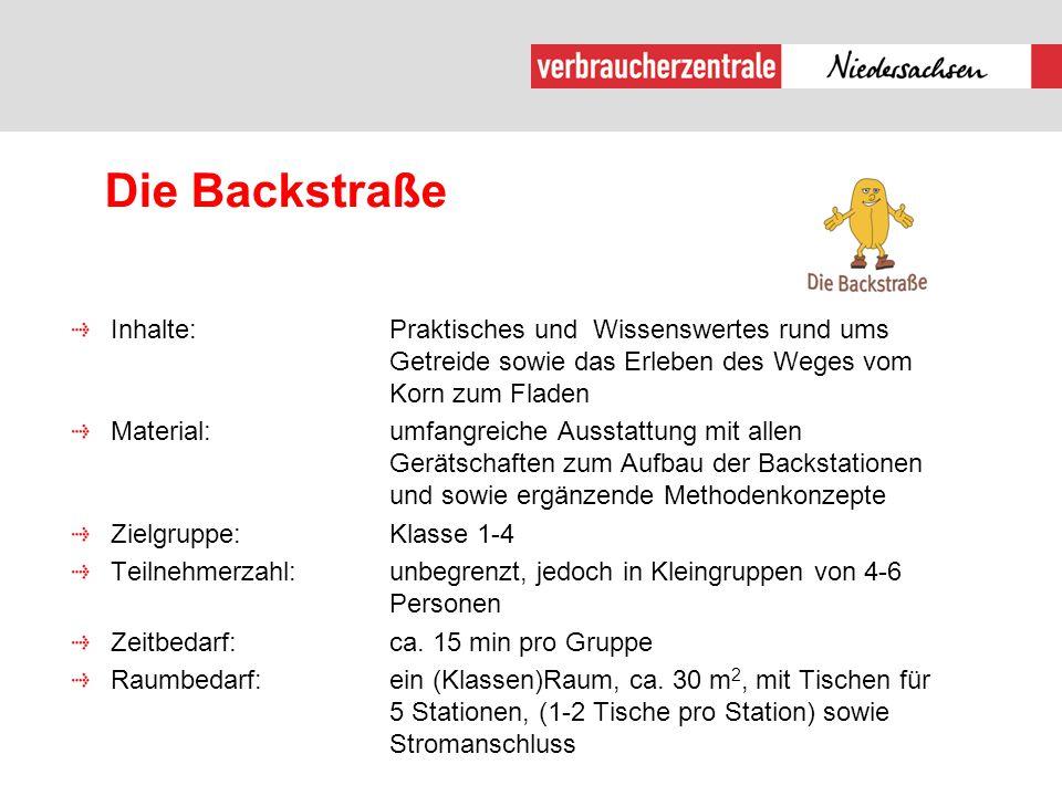 Die Backstraße Inhalte: Praktisches und Wissenswertes rund ums Getreide sowie das Erleben des Weges vom Korn zum Fladen.
