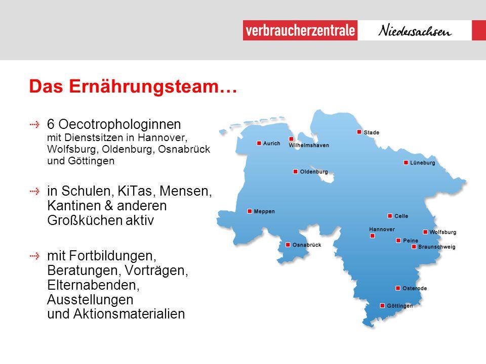 Das Ernährungsteam… 6 Oecotrophologinnen mit Dienstsitzen in Hannover, Wolfsburg, Oldenburg, Osnabrück und Göttingen.