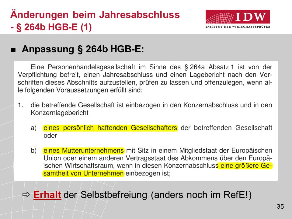 Änderungen beim Jahresabschluss - § 264b HGB-E (1)
