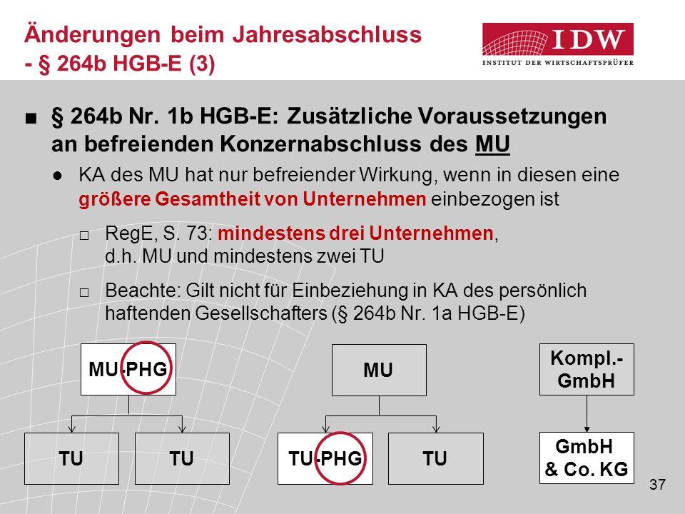 Änderungen beim Jahresabschluss - § 264b HGB-E (3)