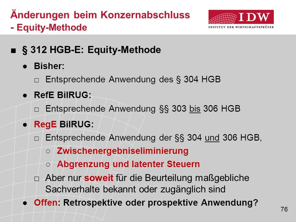 Änderungen beim Konzernabschluss - Equity-Methode
