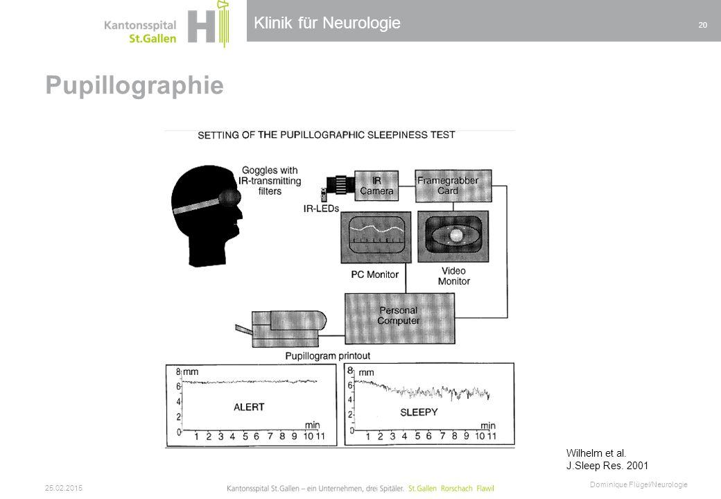 Pupillographie Klinik für Neurologie Wilhelm et al. J.Sleep Res. 2001