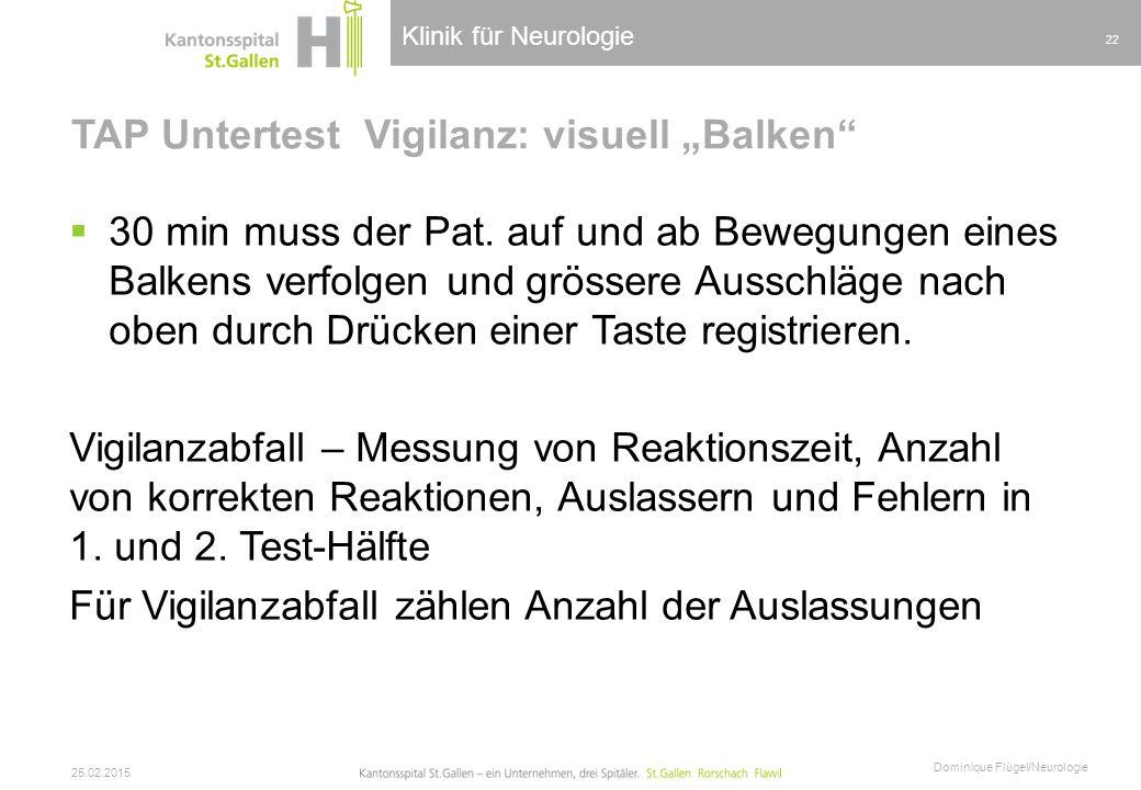 """TAP Untertest Vigilanz: visuell """"Balken"""