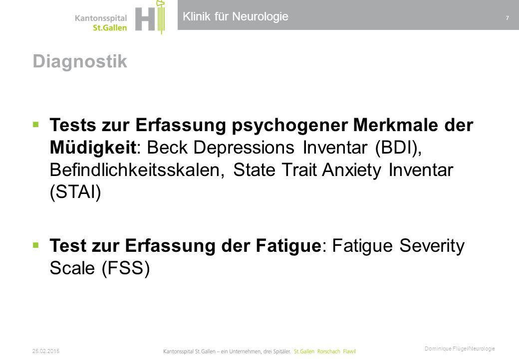 Test zur Erfassung der Fatigue: Fatigue Severity Scale (FSS)