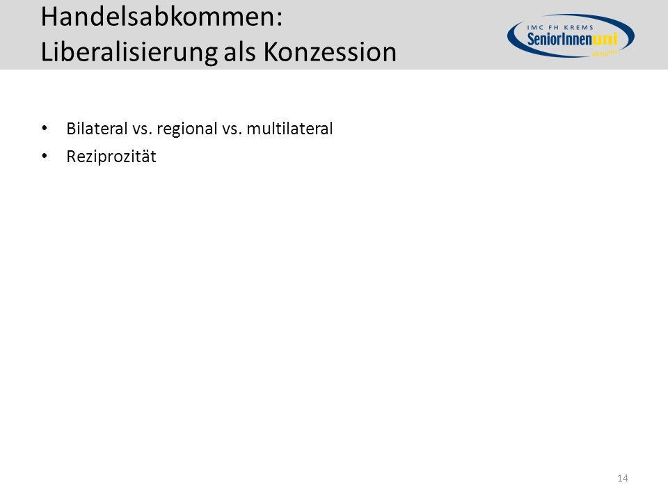 Handelsabkommen: Liberalisierung als Konzession