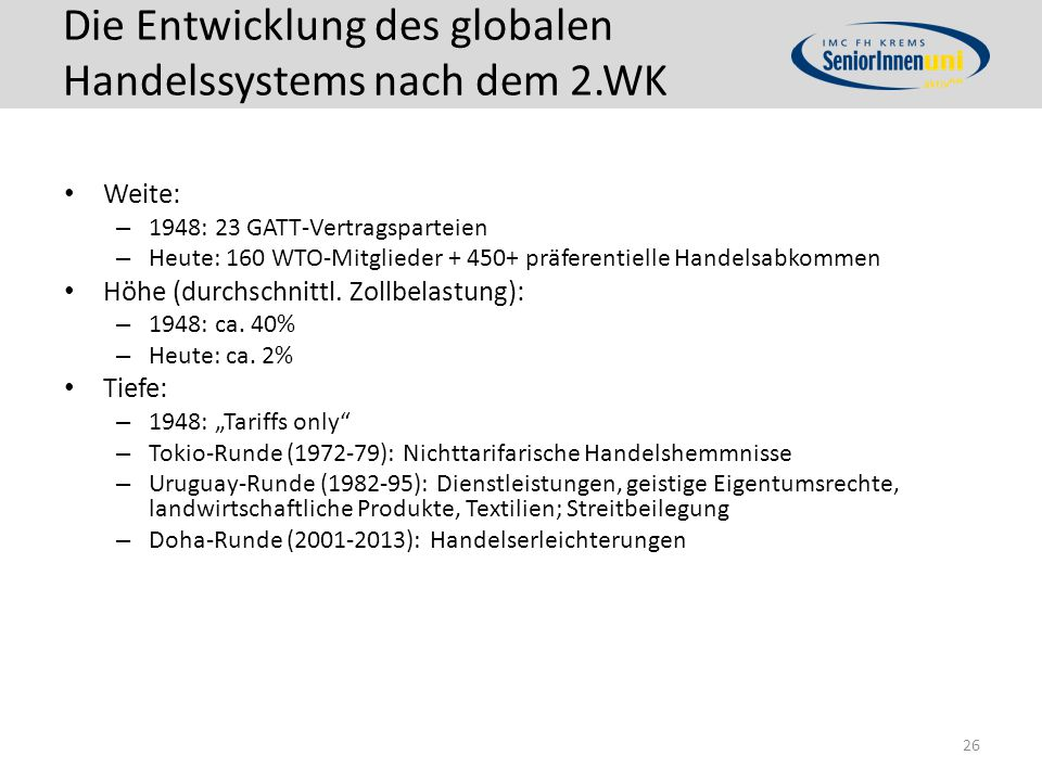 Die Entwicklung des globalen Handelssystems nach dem 2.WK