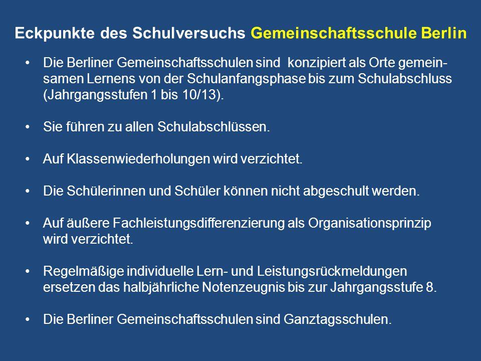 Eckpunkte des Schulversuchs Gemeinschaftsschule Berlin
