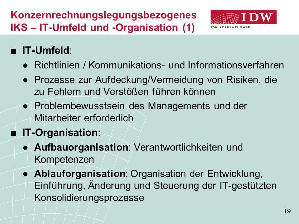 Konzernrechnungslegungsbezogenes IKS – IT-Umfeld und -Organisation (1)