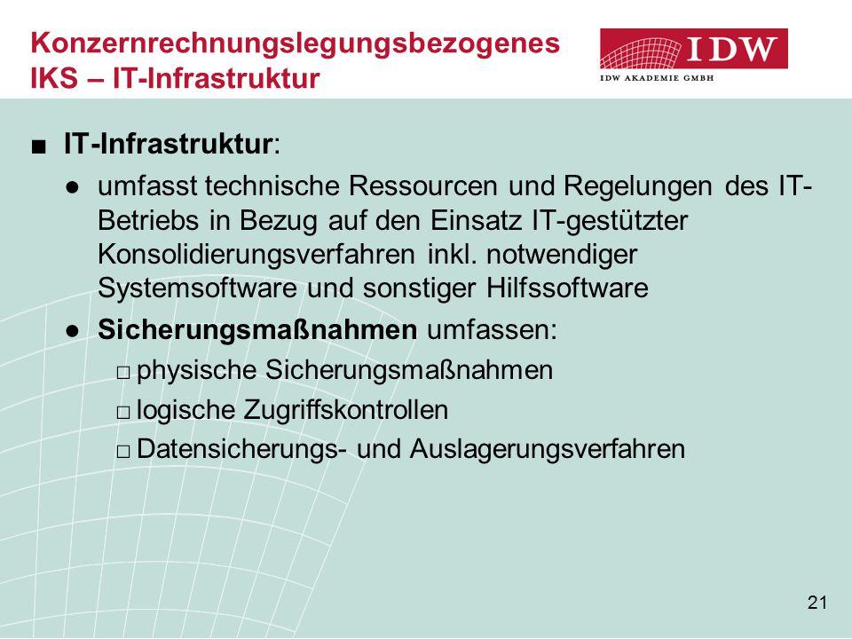 Konzernrechnungslegungsbezogenes IKS – IT-Infrastruktur