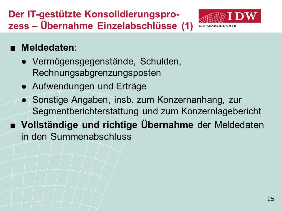 Der IT-gestützte Konsolidierungspro-zess – Übernahme Einzelabschlüsse (1)