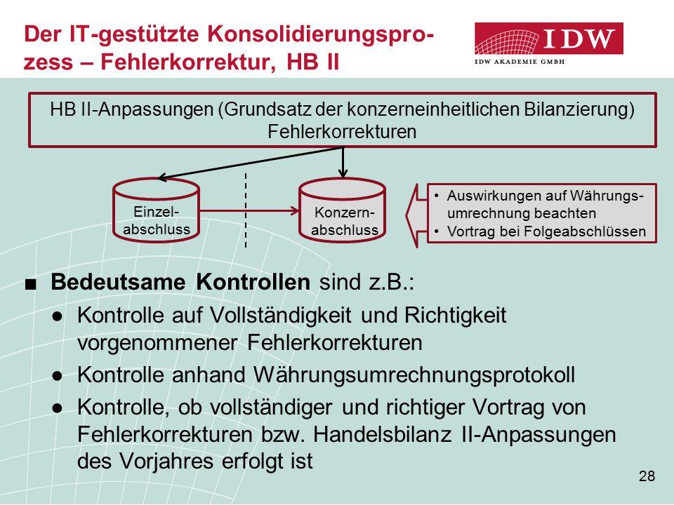 Der IT-gestützte Konsolidierungspro-zess – Fehlerkorrektur, HB II