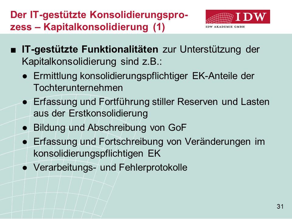 Der IT-gestützte Konsolidierungspro-zess – Kapitalkonsolidierung (1)